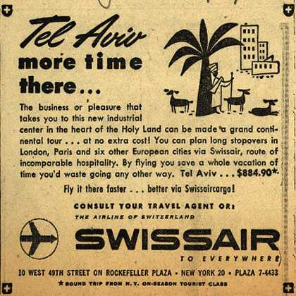 SwissAir's Tel Aviv – Tel Aviv, more time there... (1954)