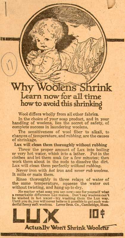 Lever Bros.'s Lux (laundry flakes) – Why Woolens Shrink (1916)