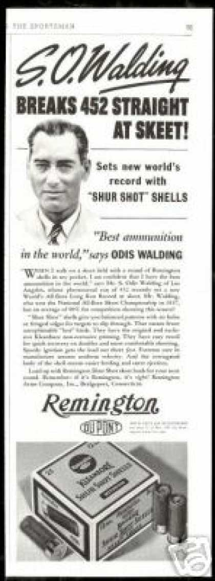 Skeet Shooter Walding Remington Shotgun Shells (1938)
