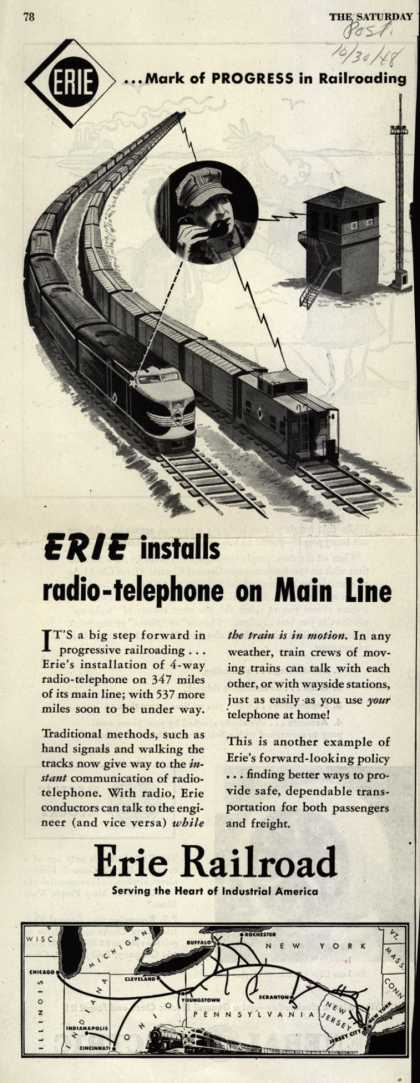 Erie Railroad – ERIE installs radio-telephone on Main Line (1948)
