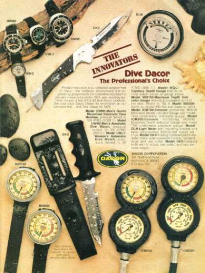 Dacor Scuba Diving Knife Watch Gauge Ad T (1978)