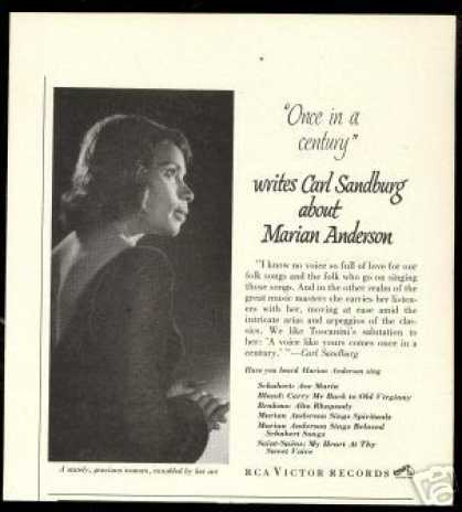Marian Anderson Vintage Photo Sandburg Review (1951)