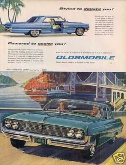"Oldsmobile Dynamic 88 Car Ad ""Styled To Delight... (1962)"