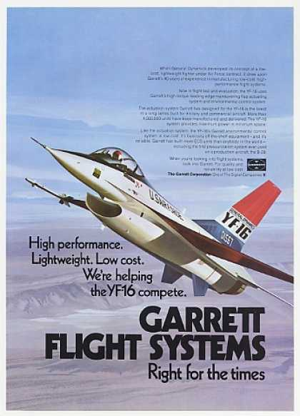 USAF General Dynamics YF-16 Photo Garrett (1974)