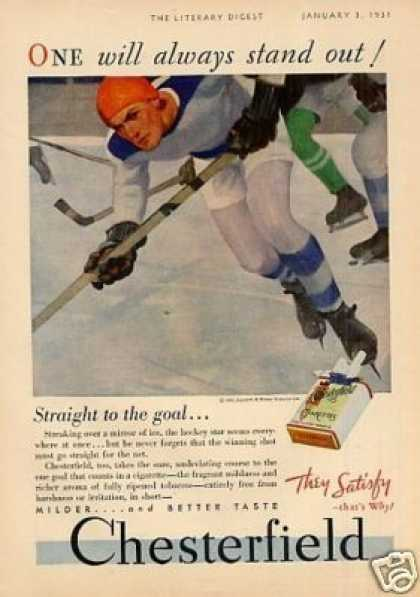 Chesterfield Cigarettes Ad Hockey (1931)