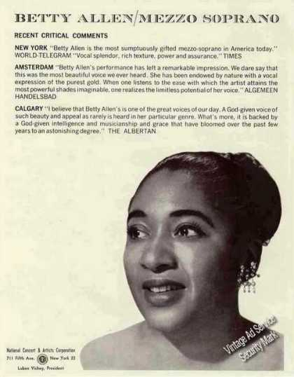 Betty Allen Photo Mezzo Soprano Opera Trade (1960)