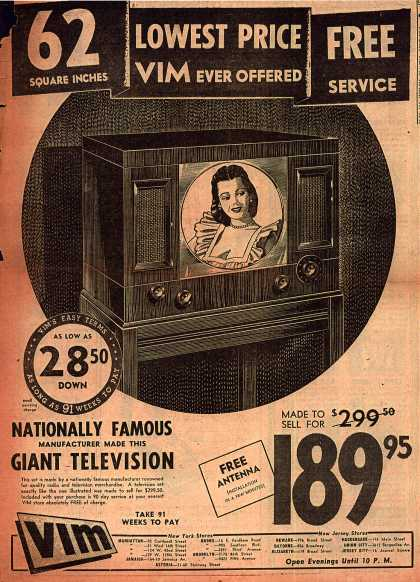 VIM's Television – Lowest Price VIM Ever Offered (1949)