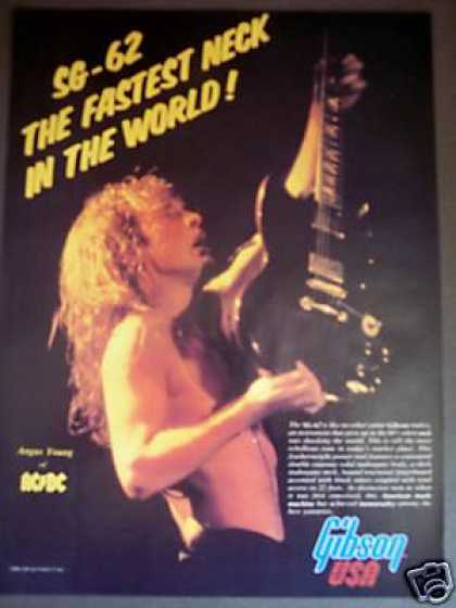 Angus Young Photo Gibson Sg 62 Neck Guitar Ad X2r (1987)
