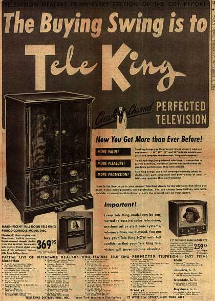 Tele King Distributor's Perfected Television – The Buying Swing is to TeleKing (1950)