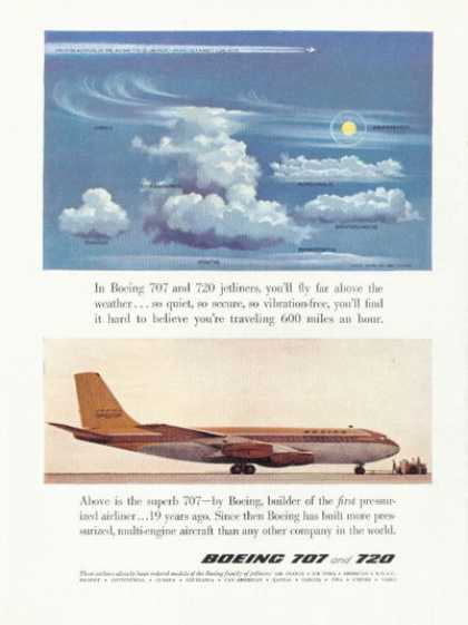 Boeing 707 Jetliner Plane Airplane Ad Cloud Guide (1958)