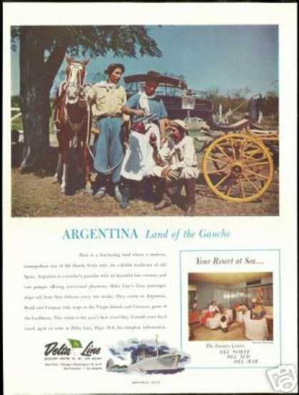 Argentina Gaucho Photo Print Delta Line Cruise (1954)
