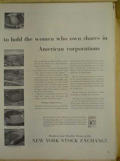 New York Stock Exchange. Women who own shares in American corporation (1953)