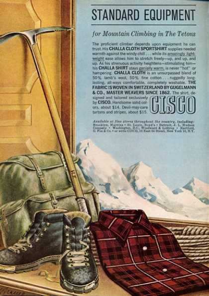 Cisco Sportshirt Hiking Climbing Tetons (1962)
