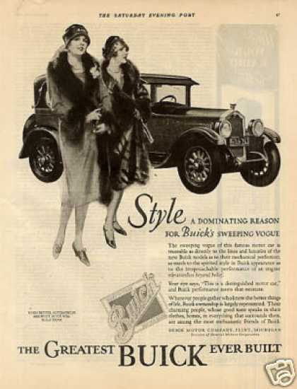 "Buick Car Ad ""Style a Dominating Reason... (1926)"