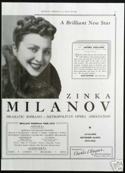 Zinka Milanov Vintage Photo Opera Tour Booking (1939)