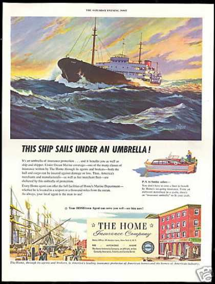 Ocean Cargo Ship Art Home Insurance Co (1954)