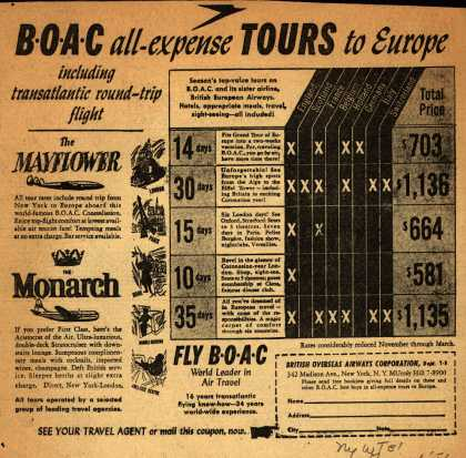 British Overseas Airways Corporation – BOAC all-expense TOURS to Europe (1953)