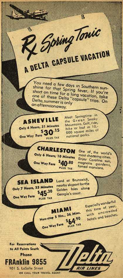 Delta Airline's Vacation travel – Rx Spring Tonic (1947)