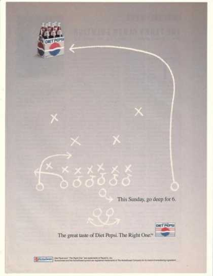 Diet Pepsi Football Play Go Deep 6-Pack (1990)