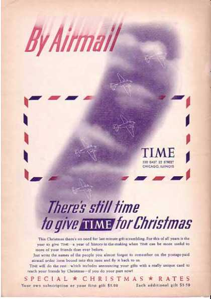 Time Magazine Christmas Subscription By Airmail (1940)