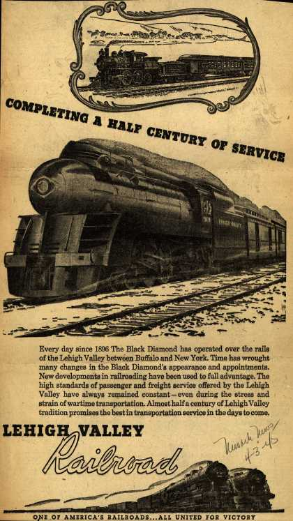 Lehigh Valley Railroad's The Black Diamond – Completing A Half Century Of Service (1945)
