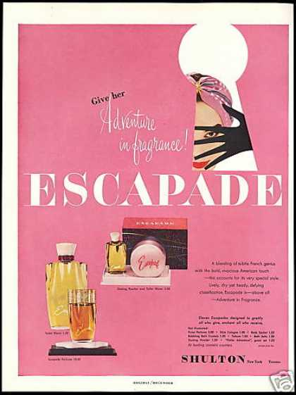 Shulton Escapade Powder Perfume Fragrance (1954)
