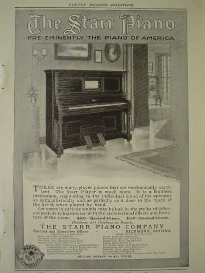 The Starr Piano Co AND William Knabe and Co Pianos (1910)
