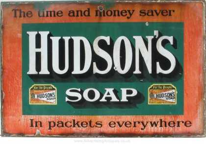 Hudson's Soap in Packets Sign