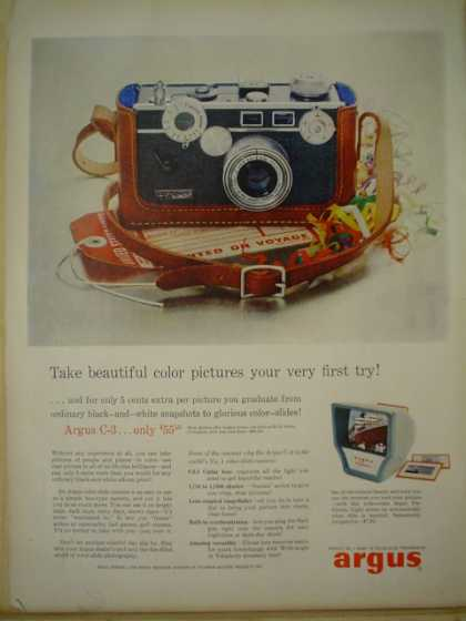 Argus C-3 only $55. Beautiful color pictures your very first try (1957)