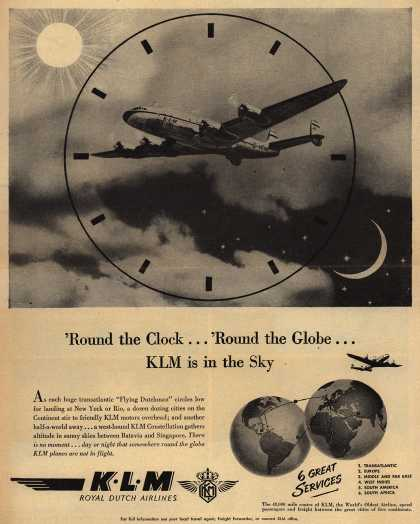 KLM Royal Dutch Airlines – 'Round the Clock... 'Round the Globe... KLM is in the Sky (1947)