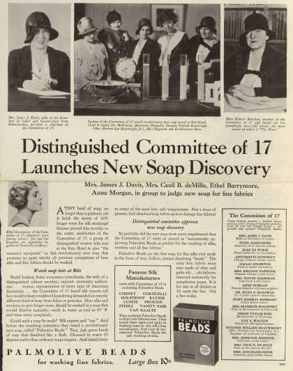 Palmolive Company's Palmolive Beads – Distinguished Committee of 17 Launches New Soap Discovery (1931)