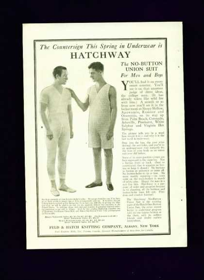 Hatchway Union Suit C Ad Men Touching Gay Interest (1910)