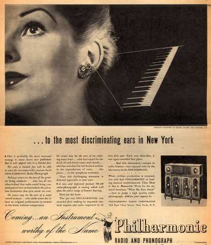 Philharmonic Radio Corporation's Philharmonic radio-phonograph – ... to the most discriminating ears in New York (1944)