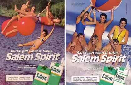 Salem Cigarettes Ads – Set of 2 Water Fun (1985)