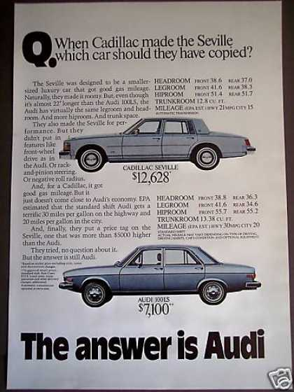 Audi Compare To Cadillac Car (1975)