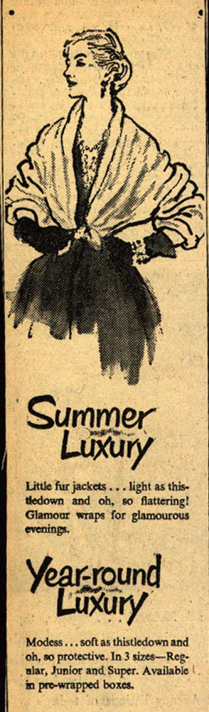Modes's Sanitary Napkins – Summer Luxury Year-round Luxury (1947)