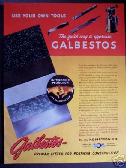 Asbestos Products Galbestos Original Trade (1945)