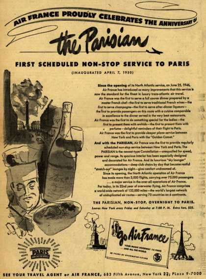 Air France's Non-Stop Service to Paris – Air France Proudly Celebrates The Anniversary Of The Parisian (1951)