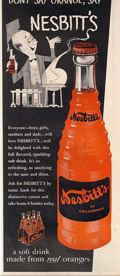 Nesbitt's Soft Drink made from real oranges (1955)