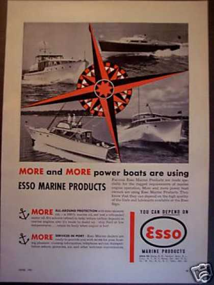Boat Photo Esso Marine Products Motor Oil (1951)