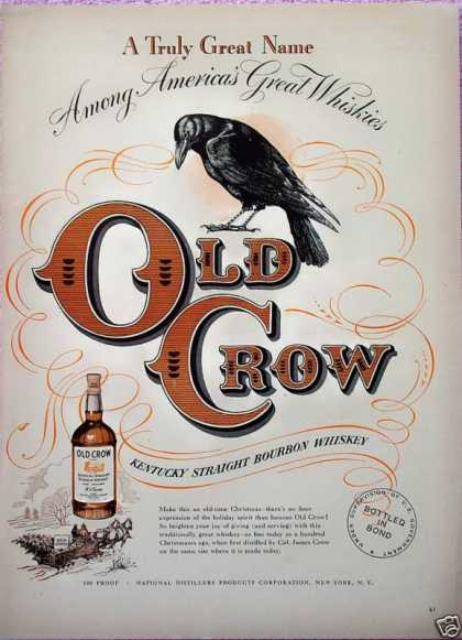 Old Crow Whiskey Wagon Sled Sleigh Horse Christmas (1948)