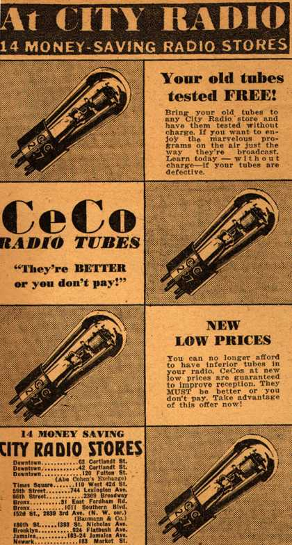 CeCo Manufacturing Company's Radio Tubes – At City Radio (1931)