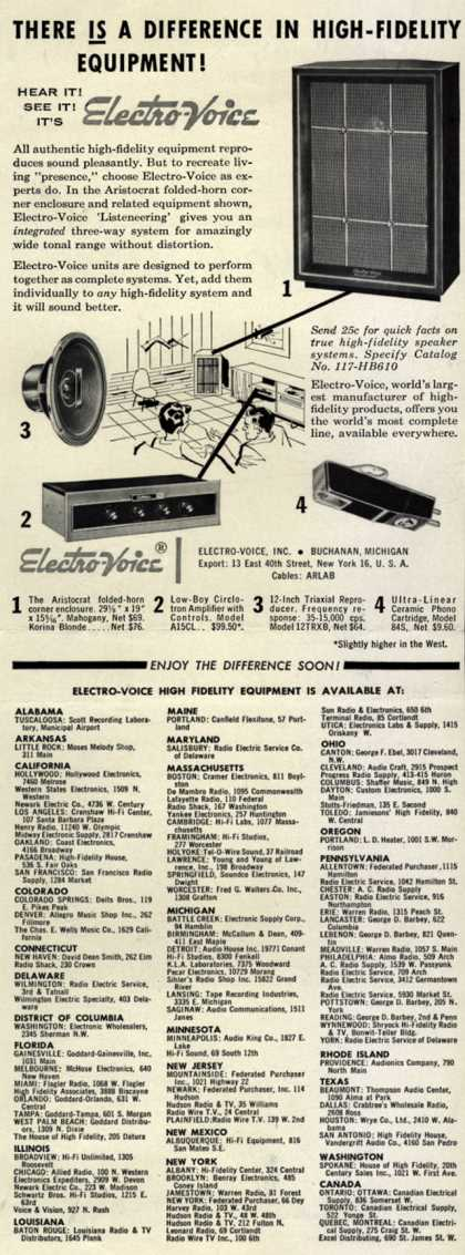 Electro-Voice – There Is A Difference In High-Fidelity Equipment (1956)
