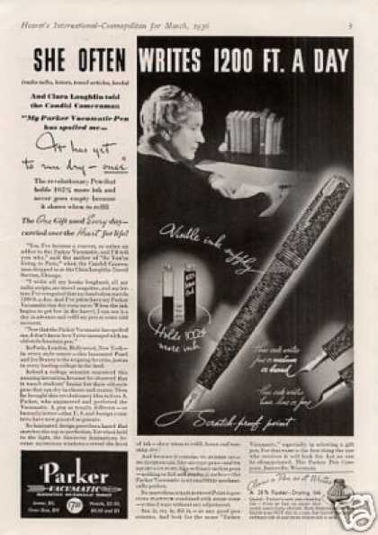 "Parker Vacumatic Pen Ad ""She Often Writes... (1936)"