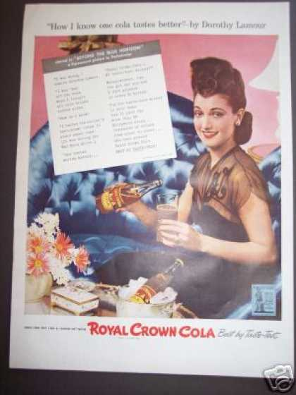 Royal Crown Cola W Dorothy Lamour Soda (1942)