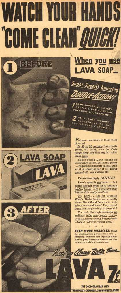 "Procter & Gamble Co.'s Lava Soap – Watch Your Hands ""Come Clean"" Quick (1942)"