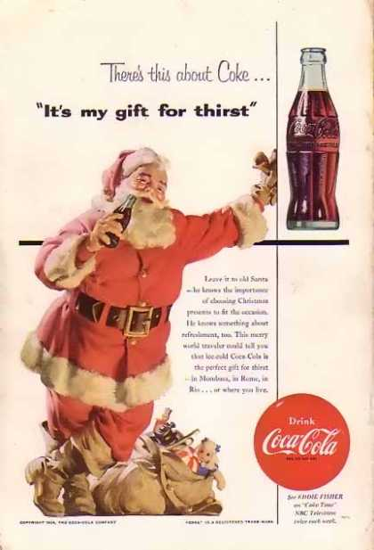 Coke Christmas with Santa with Reindeer. (1954)