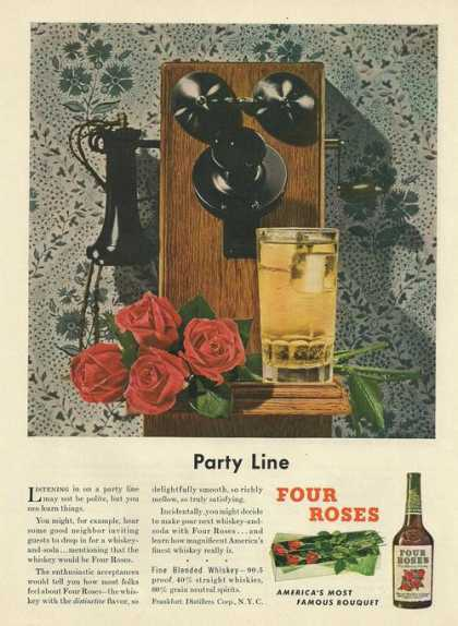 Party Line Four Roses Whiskey (1948)