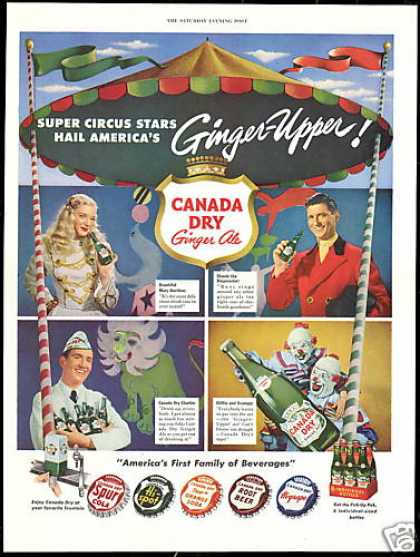 Circus Stars Canada Dry Asst Bottle Caps Photo (1950)