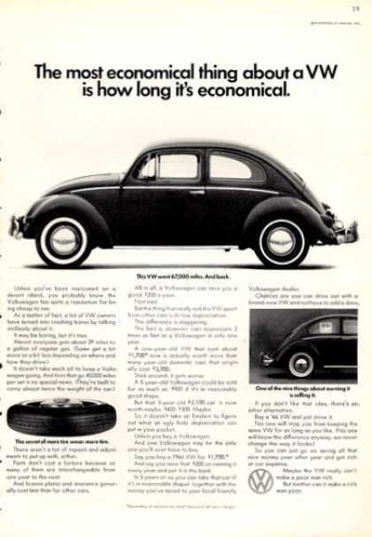 Vw Volkswagen Ad the Most Economical Thing About (1966)